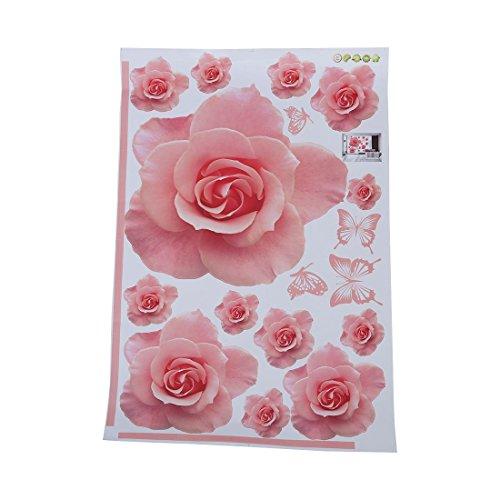 Wand Blume (TOOGOO(R)Rosen Blumen Muster entfernbares Wand Aufkleber Abziehbild Kunst DIY Hauptdekor Rosa)