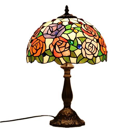 AUNLPB Tiffany Reading Style Floor Lampe mit gesteiftem Glasschatten, ist es eine der kreativen Wohnzimmer-Studie lamp,12 Zoll, Gesamthöhe 51cm