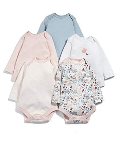 Mamas & Papas Pack of 5 Floral Long Sleeved Bodysuit, Body para Bebés, Rosa...