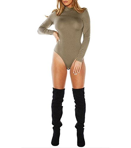 Damen Long Sleeve Turtle Kaminabdeckung Polo Hals Figurbetont Gymnastikanzug Top Damen Body Tee Größe 8101214 Grün - Khaki