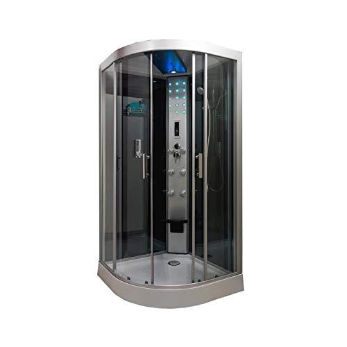 Aqua+ - Cabine de douche hydromassante 100x100 cm + Led , radio - SKADI