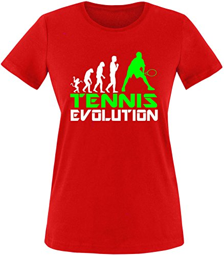 EZYshirt® Tennis Evolution Damen Rundhals T-Shirt Rot/Weiss/Neongr