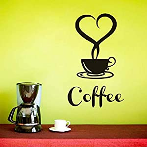A forma di cuore Foschia Una tazza di caffè Adesivi murali vinile rimovibile Nero Wall Art Decalcomanie Cucina vetro Sfondi Negozio Home Decor 26x44cm