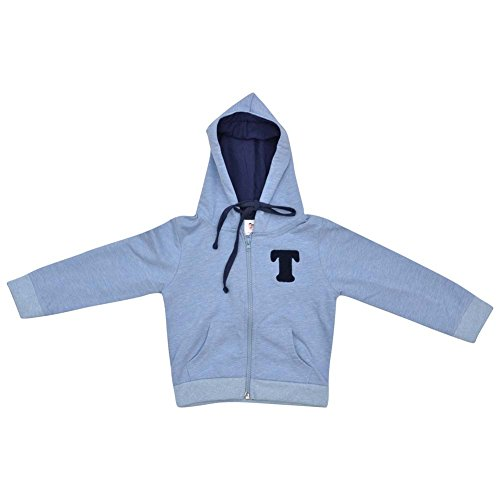 Luke and Lilly Printed Cotton Full Sleeve Blue Hoodie(3-4Y)
