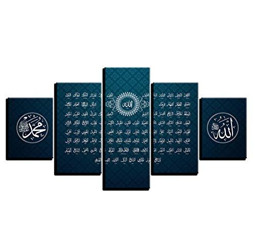 CJFHBVUQ Hd Imprimé Affiche Mur Art Cadre 5 Pièces Musulman Allah Islam Religion Peinture Modulaire Qur'An Hadith Toile Photos Décor À La Maison 80X150Cm