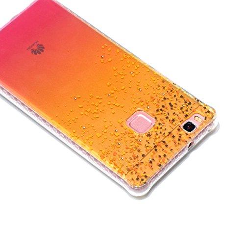 Coque Huawei P9 Lite Glitter, Huawei P9 Lite Coque Brillante, SainCat Ultra Slim TPU Silicone Case pour Huawei P9 Lite, Glitter Bling Diamante Strass Anti-Scratch Soft Gel 3D Housse Transparent Silico Plage de Sable