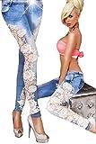 Damen Jeans mit Spitzeneinsatz Jeans weiße Spitze Skinny Röhrenjeans M
