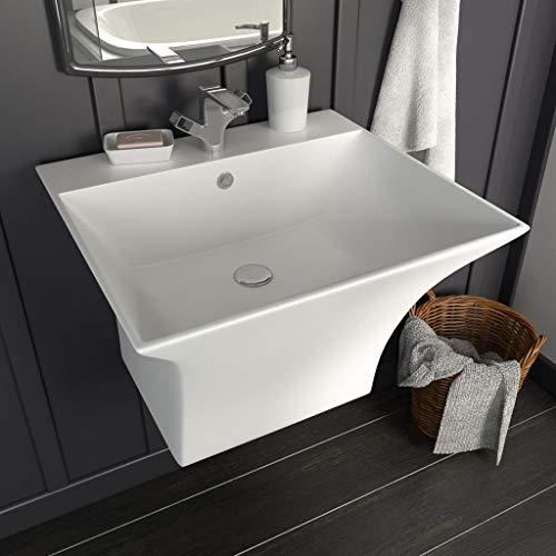 Festnight- Waschbecken Wandmontage Keramik Wei? 500 x 450 x 410 mm Waschtisch Waschschale Handwaschbecken