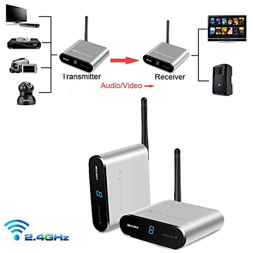 sat funkübertragung Measy AV240 Audio Video Sender 2.4G Wireless AV Sender IR-Fernbedienung für Wireless TV Sender(AV240-1330FT/IR) Digital Audio Portable Dvr