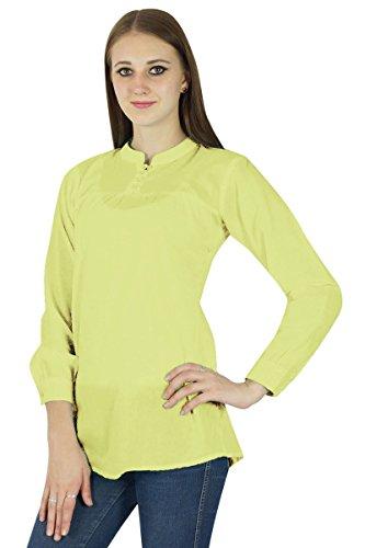Coton Top Robe Boho Porter Vêtements Robe D'Été Tunique Casual Jaune clair