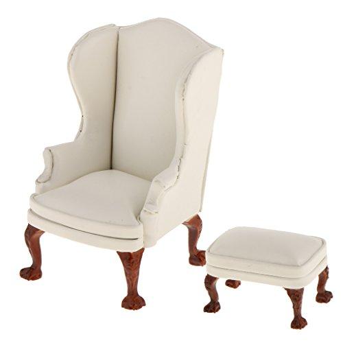 MagiDeal 1/12 Puppenhaus Wohnzimmer Ohrensessel Sessel mit Fußhocker Möbel Set - Weiß