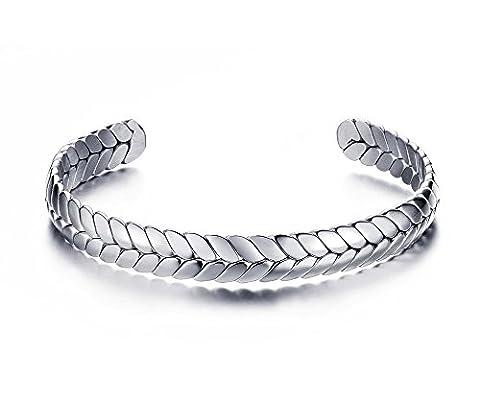 Vnox Bracelet en acier inoxydable ouvert de