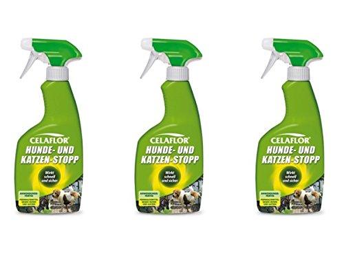 3x Celaflor Hunde- und Katzenstopp 500 ml Fernhaltemittel flüssige Geruchsstoffe verhindern erneute Verschmutzungen
