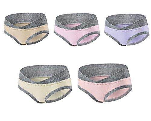 Annein 5er Pack Damen Umstandsmode Slip Schwangerschafts Baumwolle Unterwäsche Niedrig Taille U-förmige Unterhose Schlüpfer Panty für Unterhalb des Babybauchs (1, L)
