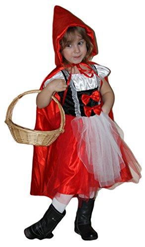 fasching rotkaeppchen Brandsseller Karneval Fasching Rotkäppchen Kostüm mit Kapuzenumhang Verkleidung für Kinder - Größe: 152/164
