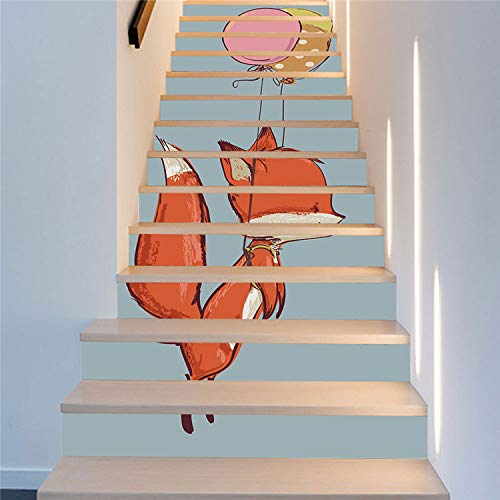 LIZHIOO Treppenaufkleber Kiefer Und Ballon Treppe Aufkleber Mode Kreative Schritte Dekoriert Wandaufkleber Nordic Dekorative Aufkleber Wasserdicht (100cm*18cm) 6pcs - Glas Kiefer Bücherregal