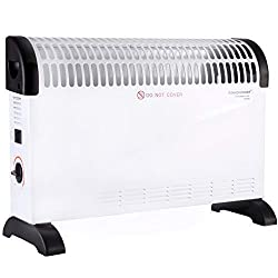 DONYER POWER Convector Radiator Heater with Adjustable Thermostat Free Standing in white, 2000 Watt