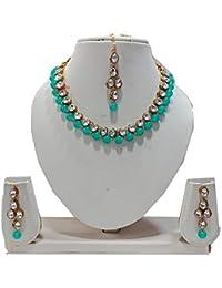 Apsara Art Jewellery Metal Gold Plated Sky Blue Pearl Maang Tikka Jewellery Set For Women