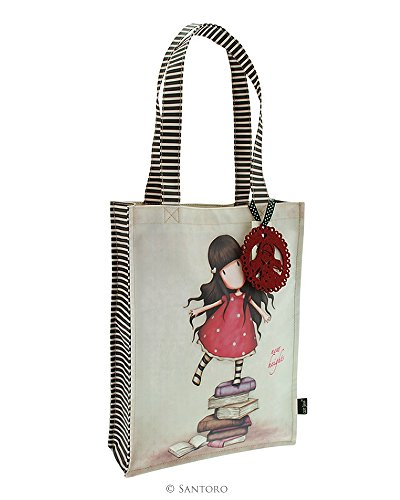 Borsa Shopping Bag Media Gorjuss New Heights Beige Fucsia - 290GJ05