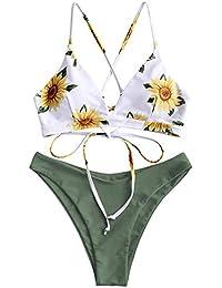 ZAFUL Damen Sonnenblume Druck Spaghetti-Träger Lace-up Gepolstert Bikini Set