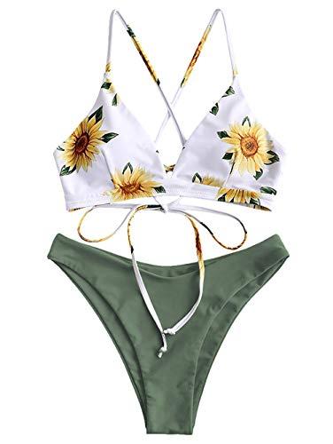 ZAFUL Damen Floral Push-up Zurück Lace-up Bikini Set Badeanzug Beachwear Grün S