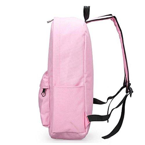 Zaino Di Modo Del Sacchetto Di Svago Esterno Dei Bambini Dello Zaino Del Sacchetto Di Tela Di Canapa Della Femmina,Black Pink