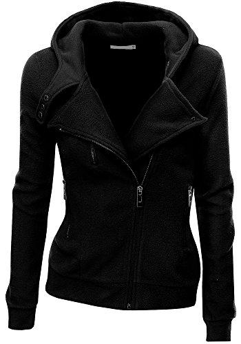 Juicy Trendz Womens Ladies Biker Hoodie Jacket Top Sweatshirt Fleece