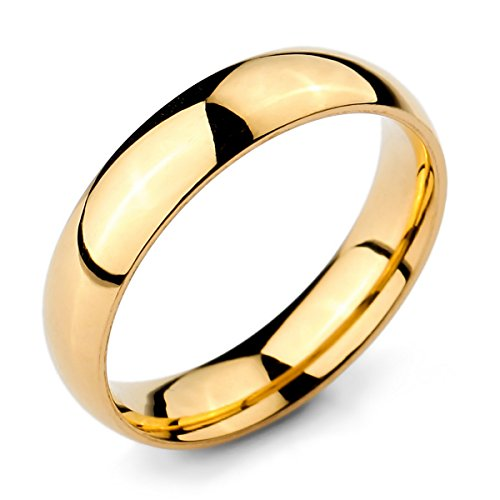 MunkiMix Ancho 5mm Acero Inoxidable Anillo Ring Banda Venda Oro Dorado Tono Alianzas Boda Talla Tamaño 15 Hombre,Mujer