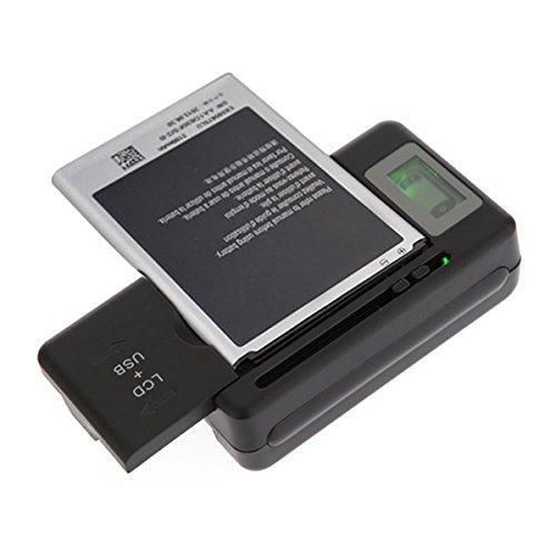 OME-Cargador Externo de bateria de movil universal con 1 USB extra y pantalla LCD indicadora de carga, sirve para Samsung Galaxy, Galaxy Note, LG, HTC,