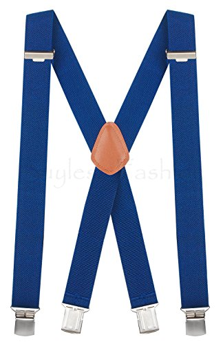 Buyless Fashion verstellbare und elastische Herren X-Hosenträger 1,2 Meter - 3 cm breit - Metallclips - 5114 Farbe: Royal-Blue (Hosenträger Blue Royal)