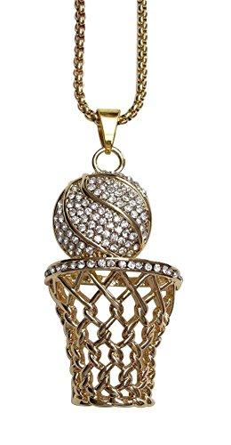 bijouxmodefashion Halskette mit Anhänger, Motiv Ball und Basketballkorb, Vergoldeter Stahl mit Strass, Weiß