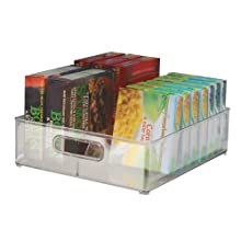 iDesign Fridge/Freeze Binz Storage Boxes, Kitchen Storage Container with Two Compartments, Made of Plastic, Clear