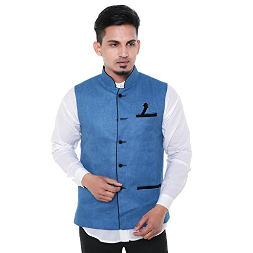 Twist Mens Sleeveless Festive Nehru Jacket Casual Wear Plain Waistcoat (Blue)  available at amazon for Rs.899