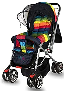 BabyGo Delight Reversible Baby Stroller and Pram with Mosquito Net, Mama Diaper Bag and Wheel Breaks (Rainbow)