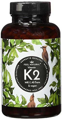 Vitamin K2 MK7-365 Kapseln. Hochdosiert mit 200µg (mcg) je Kapsel. >99{e918d4052c337018ae8a5513ec6ded4c7b188015ce2aee1dfdb86cabe815c3df} All-Trans, aus Fermentation. Aktionspreis. Laborgeprüft, ohne Zusätze wie Magnesiumstearat. Vegan, hergestellt in Deutschland