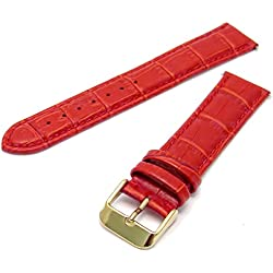 Extra Long XL Leather Watch Strap Red Padded Croc Grain 24mm with Gilt (Gold Colour) Buckle