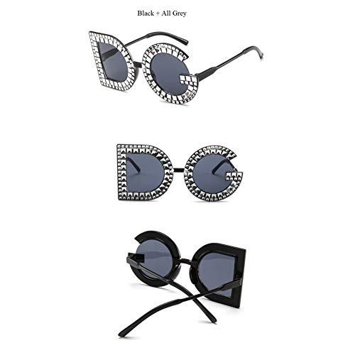 CCGKWW Nachahmung Diamant Big Frame Charm Marke Sonnenbrille Frauen Brief Dg Rahmen Modetrend Promi Günstige Brille Übergroßen