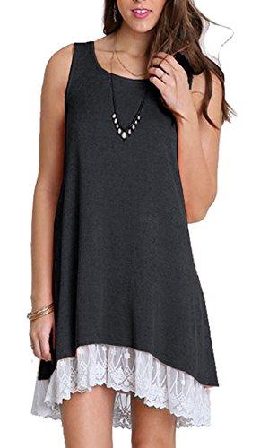 Camisa Vestido Mujer, Vestido Casual, Negro, 36-38