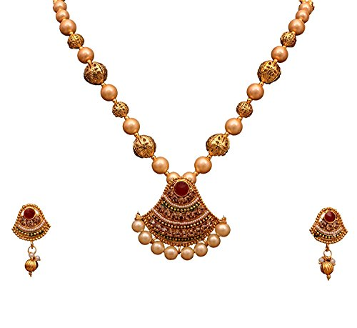 Sitashi Artificial Jewellery White Pearl Golden Pendant Necklace & Earrings Set For Women