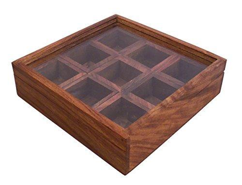 Stylla London Drap de dessus à nourriture/boîte à épices avec cuillère, bois, marron, 10.7 x 10.5 x 4.3 cm