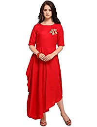 Inddus Red Cotton Rayon Solid Asymmetric Flared Dress