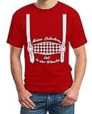 Oktoberfest Outfit - Meine Lederhose ist in der Wäsche - Trachten Herren Tshirt Large Rot