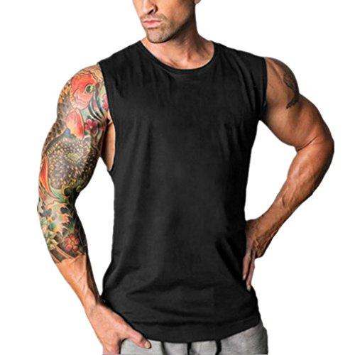 URSING Mode Herren Ärmellos Sport Weste Casual Einfarbig Tanktops Krafttraining Bodybuilding Stringer Gym Fitness Singlet Racerback Tankshirt Unterhemden Muskelshirt (M(Asian M=EU S), Black)