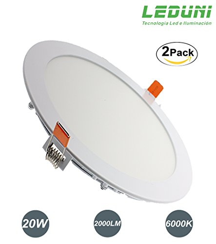 LEDUNI ® Pack de 2 Unidades Downlight Placa Panel LED Redondo 20W...