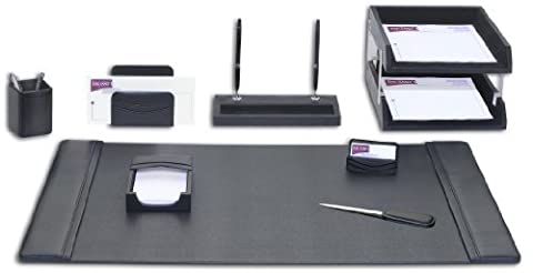 Dacasso Leather Desk Set, 10-Piece, Black by Dacasso
