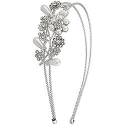 Diadema con detalle lateral de flores en plata