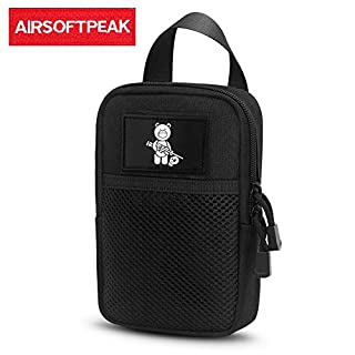 AIRSOFTPEAK Tactical Molle Pouch Nylon EDC Waist Pack Saddlebag Utility Gadget Belt Bag for Outdoor Hiking Camping Cycling (Mesh Pouch x 1)