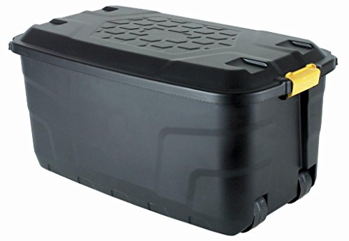The Buffalo Box - Extra Long Wheeled 145 Litre Plastic Mobile Storage Trunk, Toy Box, Garden, Tool Box