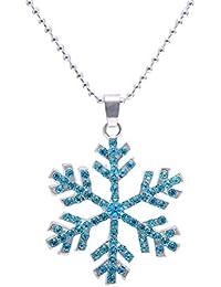 10c925fad67a Paialco congelado copo de nieve Navidad colgante collar