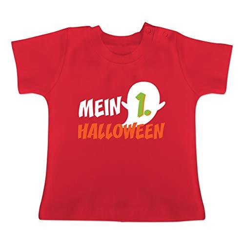 Anlässe Baby - Mein erstes Halloween Geist - 1-3 Monate - Rot - BZ02 - Baby T-Shirt Kurzarm